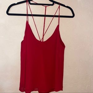 Red strappy blouse